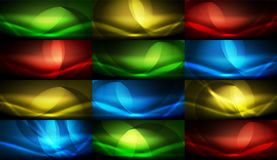 Set of vector neon flowing wave abstract backgrounds Royalty Free Stock Photo
