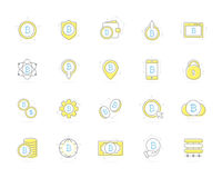 Set of vector colored bitcoin icons. Investments, cloud technologies, payments and exchange, mobile app, wallet, bundle Royalty Free Stock Photos