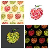 Set of vector colored illustrations and patterns Royalty Free Stock Image