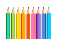 Set of vector colored pencils. On white background stock illustration