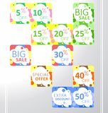 Set of vector colorful abstract seamless sale stickers, labels, tags royalty free illustration