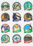 Set of vector colorful badges and labels. Science and school disciplines. Science and school discipline logos Stock Image