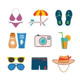 Set of vector colorful beach vacations icons in flat style. Set of vector colorful beach vacations icons like bikini lounger tent slippers photo camera cocktail Stock Image