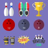 Set of vector colorful bowling icons sport strike pin symbol ball skittle game equipment illustration. Set of vector colorful bowling icons sport strike pin Royalty Free Stock Images