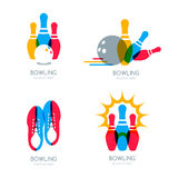 Set of vector colorful bowling logo, icons and symbol. Bowling ball, bowling pins and shoes illustration. Trendy design elements, isolated on white background Stock Photos