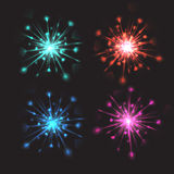 Set of vector colorful bright fireworks with hearts Royalty Free Stock Images