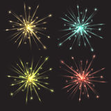 Set of vector colorful bright fireworks. For your creativity Royalty Free Stock Photos