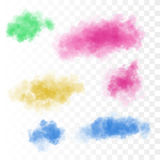 Set of vector colorful clouds for design. Smoke. Illustration Stock Photo