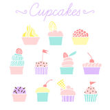 Set of vector colorful cupcakes for party and Birthday Stock Photos