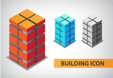 Set of vector colorful 3d office building. Constructions, icons, apartments, logos Royalty Free Stock Images