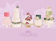 Set of vector colorful decorated layer wedding cakes and cupcakes Royalty Free Stock Photo