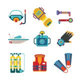 Set of vector colorful diving icons in flat style Stock Photos
