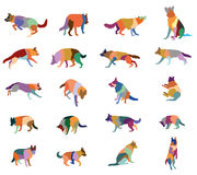 Set of vector colorful dogs. Set vector mosaic silhouettes of colorful dogs German shepherd dog cut out on white background Stock Images