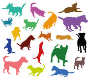 Set of vector colorful dogs silhouettes. Set of vector colorful silhouettes of dogs Jack Russel terrier cut out on white background Stock Image