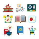 Set of vector colorful education icons in flat style. Like school building alphabet cube book alarm clock chemical flask and graduation hat Stock Images