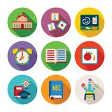 Set of vector colorful education icons in flat style. Like school building alphabet cube book alarm clock chemical flask and graduation hat Royalty Free Stock Image