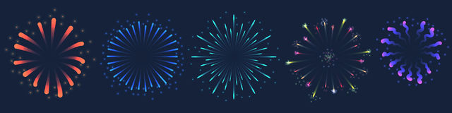 Set of Vector colorful Firework illustration on dark background. Set of Vector colorful Firework illustration, can be used on dark background only Stock Photos