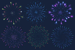 Set of Vector colorful Firework illustration on dark background. Set of Vector colorful Firework illustration, can be used on dark background only Royalty Free Stock Photos