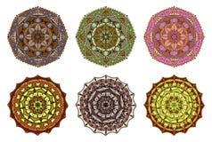 Set of 6 vector colorful hand drawn mandalas Stock Images