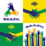 Set of vector colorful  hands icons using Brazil flag colors. Set of colorful up hands icons using Brazil flag colors 2016. Hands vector Icon, logo, emblem using Royalty Free Stock Image