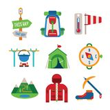 Set of vector colorful hiking icons in flat style. Set of vector colorful hiking icons like backpack tent compass windbreaker bowler and climbing shoes in flat Royalty Free Stock Image