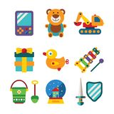 Set of vector colorful kids toys in flat style Stock Photography