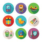 Set of vector colorful kids toys icons in flat style Royalty Free Stock Image