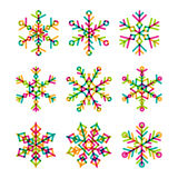 Set of vector colorful linear snowflakes icons. New Year  Stock Photo