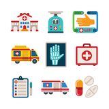 Set of vector colorful medical icons in flat style. Set of vector colorful medical icons like hospital building ambulance car first aid kit x-ray pills drugs and Stock Photography