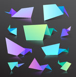 Set of vector colorful origami bubbles isolated Stock Photography