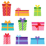 Set of vector colorful present boxes Stock Image