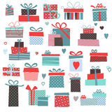 Set of vector colorful present boxes Stock Photos