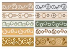 Set of vector colorful seamless borders with gears - colored cogwheels. Set of vector colorful seamless borders with gears - colored  cogwheels royalty free illustration