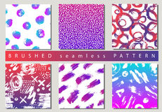 Set of Vector colorful seamless pattern with brush strokes and dots. Pink blue gradient color on background. Hand Royalty Free Stock Image