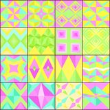 Set of vector colorful simple geometric patterns. With triangles and diamonds vector illustration