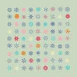 Set of vector colorful snowflakes icons Royalty Free Stock Photos
