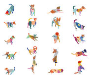 Set of vector colorful terrier dogs. Set vector mosaic silhouettes of colorful dogs Jack Russel terrier cut out on white background stock illustration