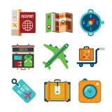 Set of vector colorful travel icons in flat style Stock Photography