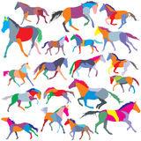 Set of vector colorful trotting and galloping horses silhouettes Royalty Free Stock Photo