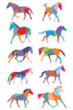 Set of vector colorful trotting horses silhouettes Royalty Free Stock Image