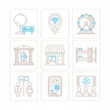 Set of vector common map icons and concepts in mono thin line style.  Stock Photography