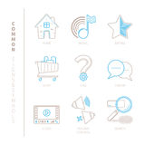 Set of vector common website icons and concepts in mono thin line style Royalty Free Stock Images