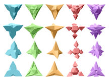 Set of vector complex geometric shapes based on tetrahedron. Fiv Stock Photography