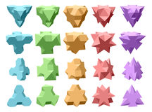 Set of vector complex geometric shapes based on tetrahedron Stock Photo