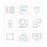Set of vector computer icons and concepts in mono thin line style.  Royalty Free Stock Image