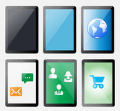 Set of vector computer tablets. Set of vector computer tablets with different symbols Stock Images