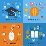 Set of 4 vector concept icons for education. Royalty Free Stock Images