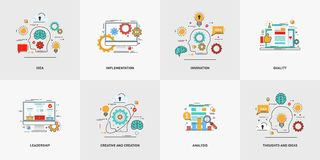 Set of vector conceptual flat line illustrations. Creative and creation, thoughts and ideas. Royalty Free Stock Photography
