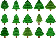Set of vector conifers Royalty Free Stock Photo