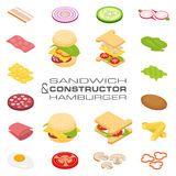 Set vector constructor isometric sandwich and hamburger ingredients Stock Photography
